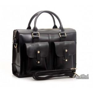 black 14 inch leather laptop bag