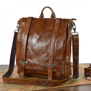brown leather women backpack