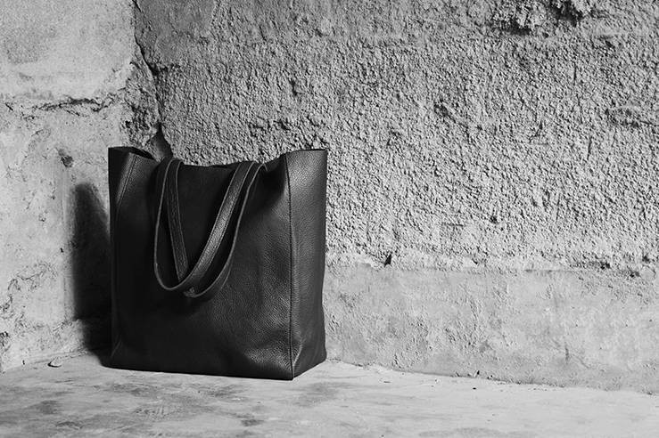 Soft leather shopping bag, leather tote - BagsWish