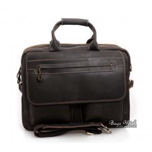 black Vintage leather briefcase for men