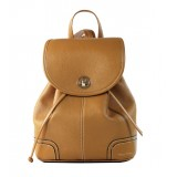 Leather backpack small khaki
