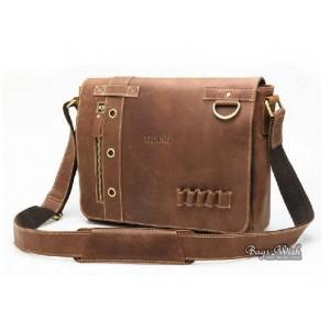 "Leather briefcase vintage brown, 13"" leather netbook bag"
