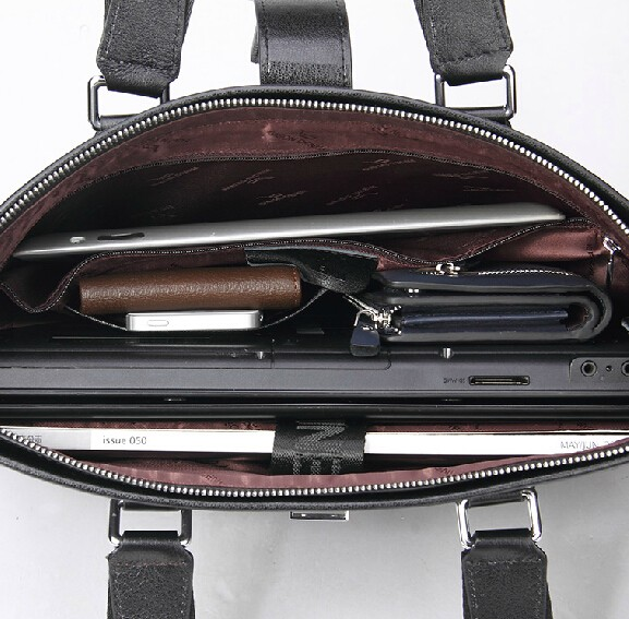 Black Mens Briefcase Leather Computer