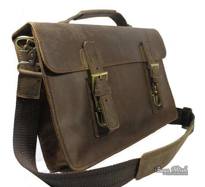 Crazy Horse Leather Briefcase Computer Coffee Brown 13 3