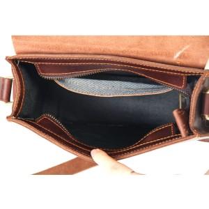 khaki Vintage leather messenger bag