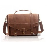 Antique leather briefcase brown, 13.3 notebook leather bag