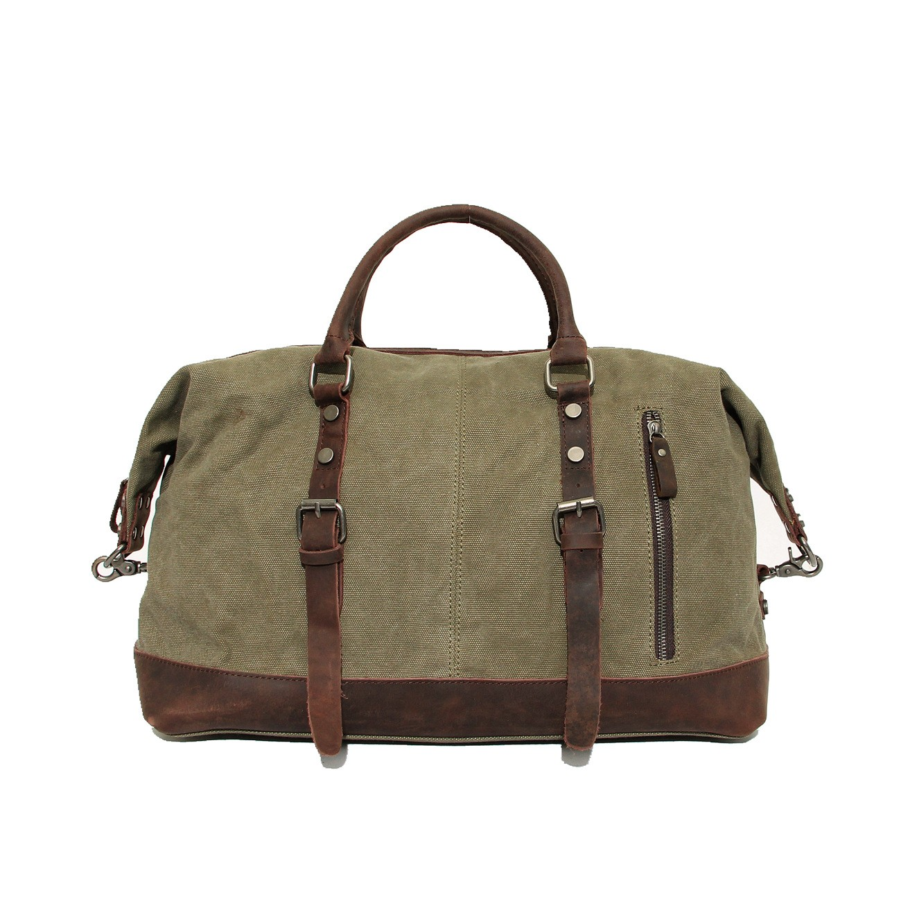 Army Green Retro Leather Washed Canvas Bags