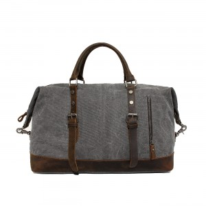 grey retro leather washed canvas bags