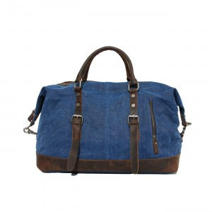 navy retro leather washed canvas bags