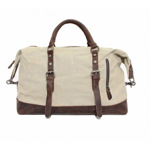 beige retro leather washed canvas bags