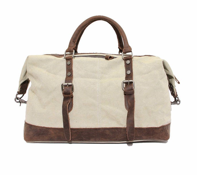 Large men and women's travel bag, retro leather washed canvas bags ...