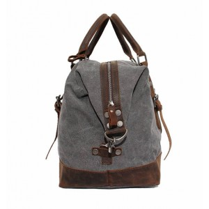 grey leather washed canvas bags