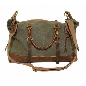army green leather washed canvas bags