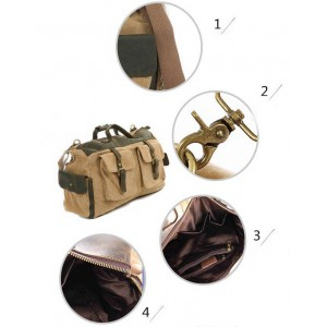 khaki Crossbody Cowhide Shoulder bag