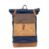 blue laptop leather backpack