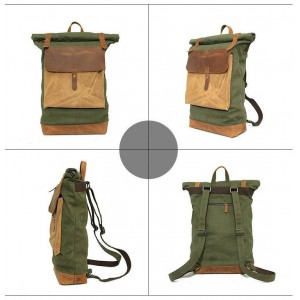 green laptop leather backpack