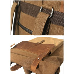 khaki laptop leather backpack
