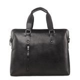 Black leather briefcase bag for men
