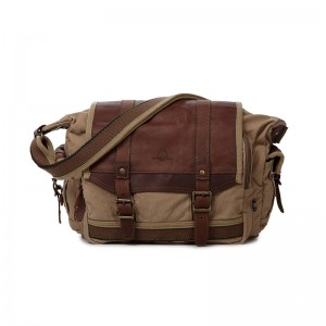 Guys Crossbody Canvas Messenger, Real Leather Ipad Canvas Shoulder Bag