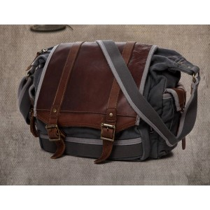 grey Real Leather Ipad Canvas Shoulder Bag