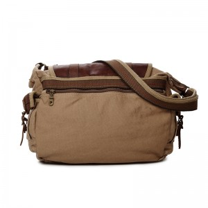 khaki Real Leather Ipad Canvas Shoulder Bag