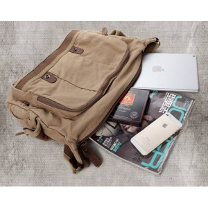 Real Leather Ipad Canvas Shoulder Bag