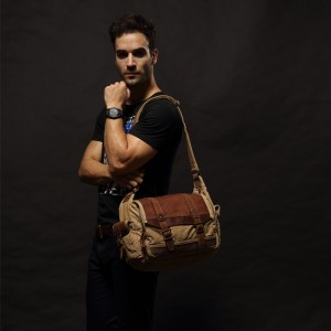 Guys Crossbody Real Leather Ipad Canvas Shoulder Bag