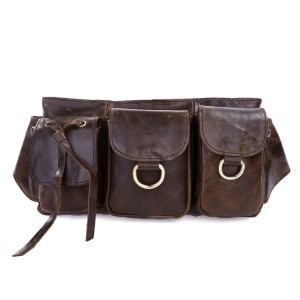 Leather fanny pack, classic coffee leather purse