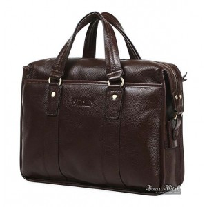 Briefcase bag for men, coffee leather computer bag