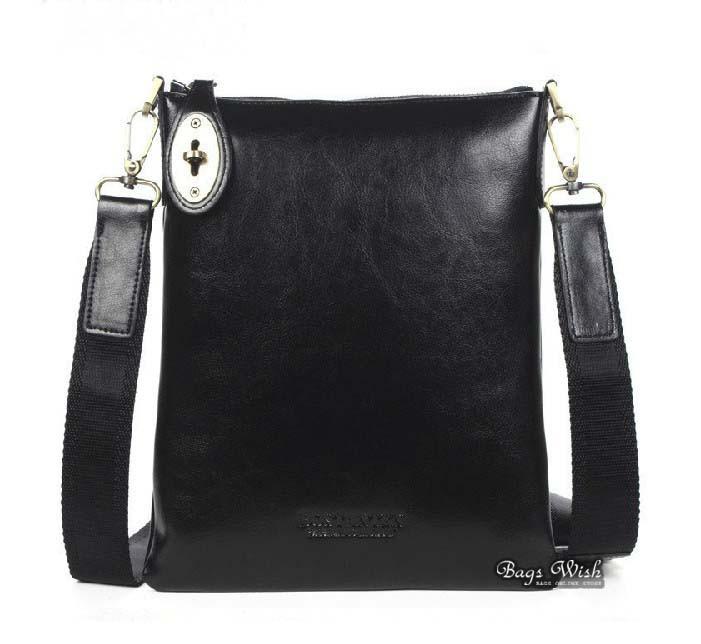Black leather messenger bag, cool messenger bag - BagsWish