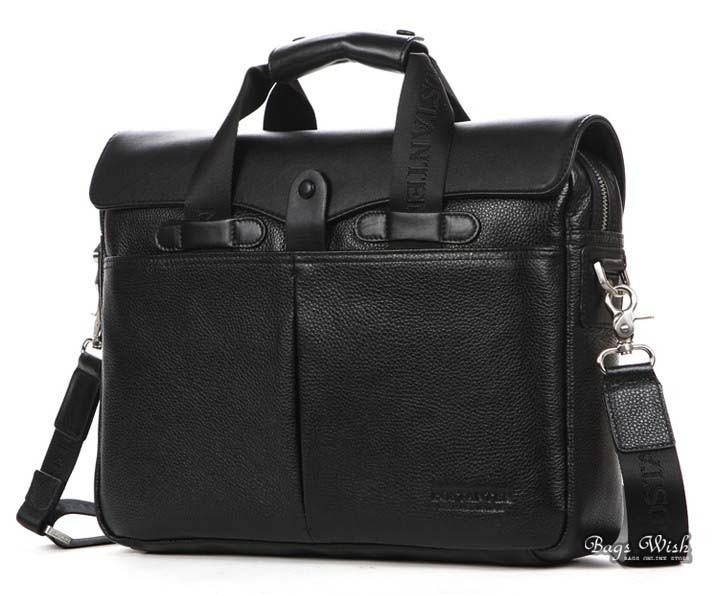 Black Best Mens Leather Briefcase Computer Bag Case