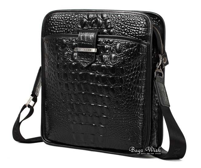 Cool messenger bag for men, black cross body bag - BagsWish
