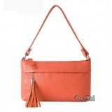 Genuine leather handbag red, orange inexpensive leather messenger hand bag