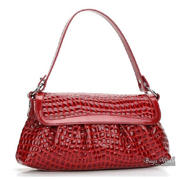 Crocodile ladies leather purse red, black leather purse handbag ...