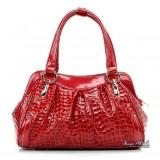 Leather handbag red, black leather satchel bag