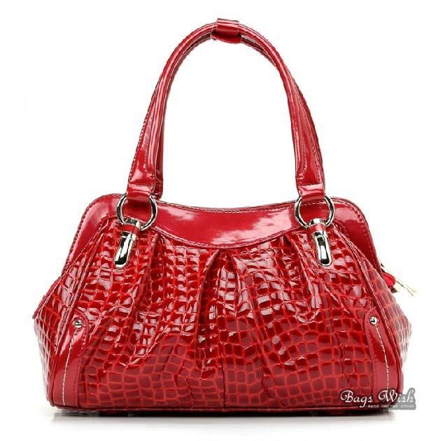 Black Leather Satchel Bag Handbag Red