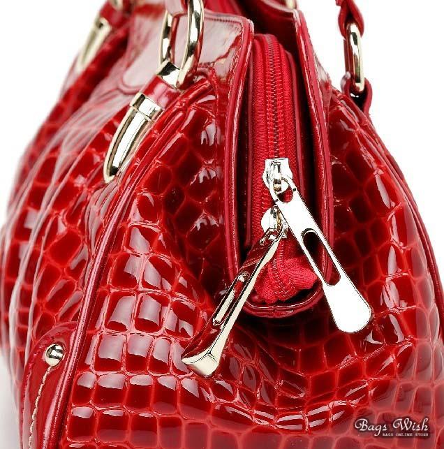 Leather Handbag Red Satchel Bag