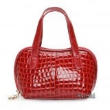 Leather hand bag red