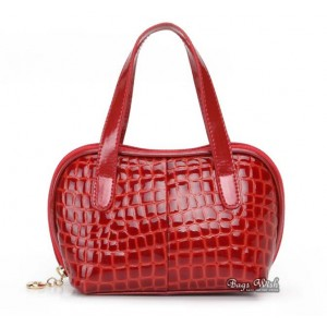 red leather purse and handbag
