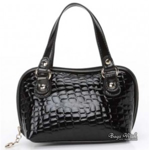 black leather purse and handbag