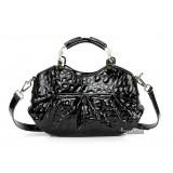 Leather handbag for women blue, black leather messenger bag