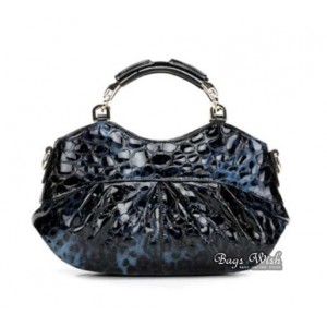 Leather handbag for women blue