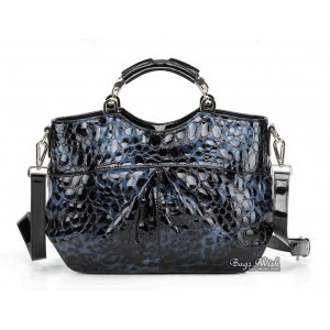 blue leather messenger handbag