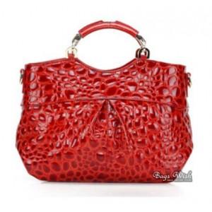 red leather messenger handbag