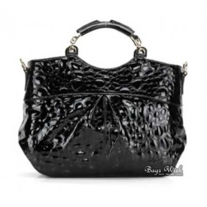 black leather messenger handbag