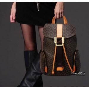 coffee rugged leather backpack