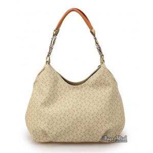 Satchel leather handbag beige
