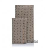 Womens leather wallet khaki, coffee money clip