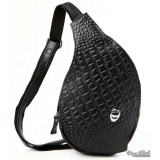 Backpack with one strap, black lightweight travel sling bag