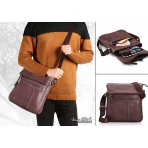 mens coffee shoulder bag leather